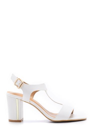Beyaz Kadın Kalın Topuklu Sandalet 5638126408