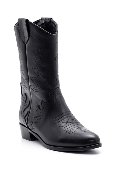 Siyah Kadın Deri Kovboy Çizme 5638087920