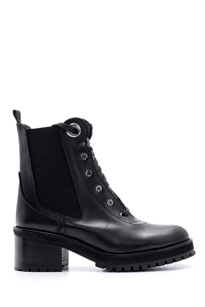 Siyah Kadın Topuklu Deri Bot 5638104691