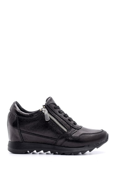 Siyah Kadın Deri Sneaker 5638094045