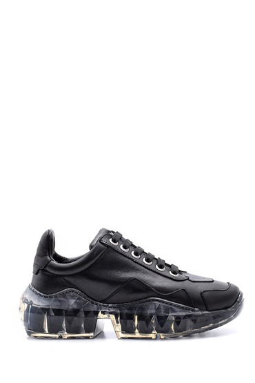 Siyah Kadın Şeffaf Tabanlı Sneaker 5638113856