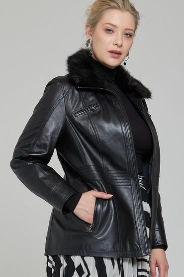 Siyah Mira (Plus) Kadın Deri Ceket 5638087341