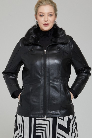 Siyah Mira (Plus) Kadın Deri Ceket 5638087343