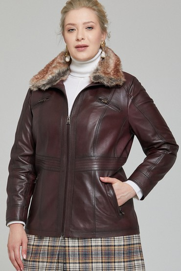 Bordo Mira (Plus) Kadın Deri Ceket 5638087366