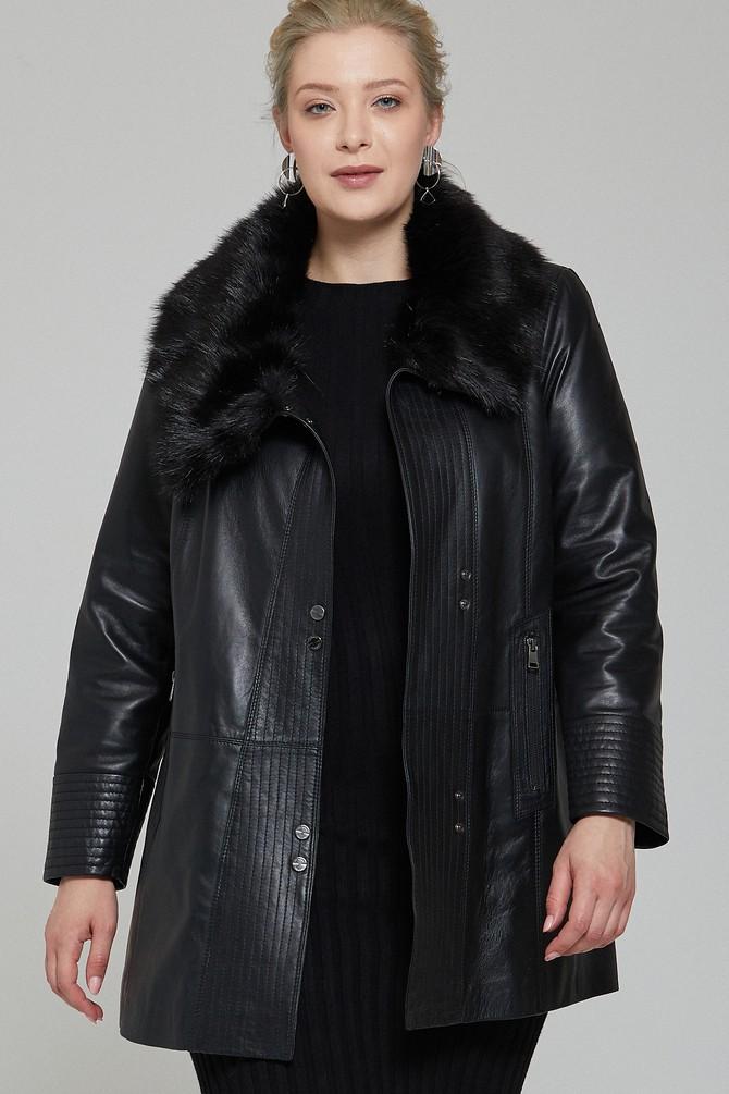 Siyah Longchamp Kadın Deri Ceket 5637954597