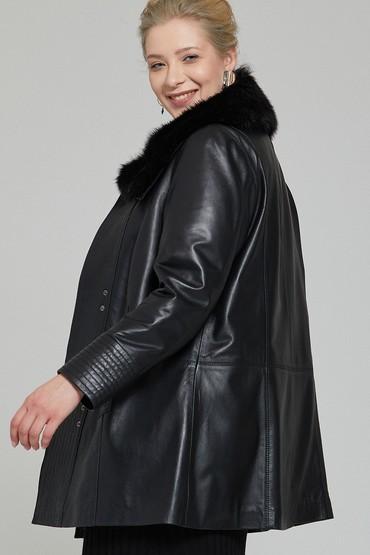 Siyah Longchamp Kadın Deri Ceket 5637954593