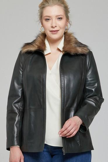 Yeşil Samantha-X Kadın Deri Ceket 5638115986