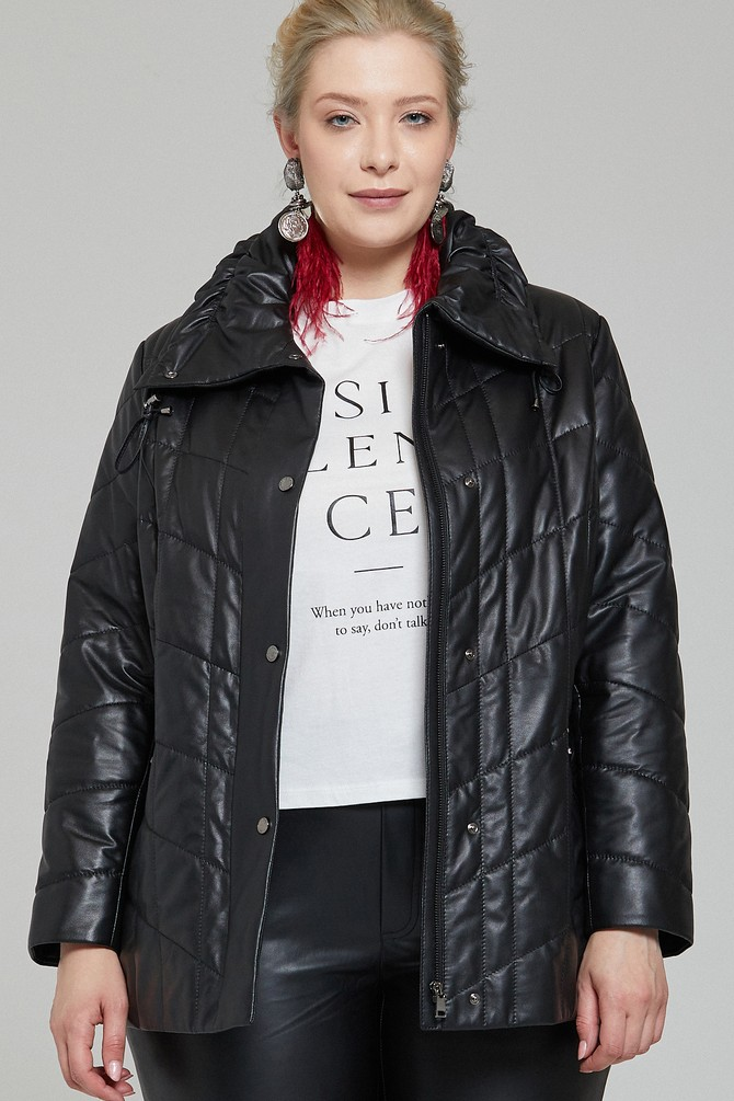 Siyah Elvira Kadın Deri Ceket 5638140191