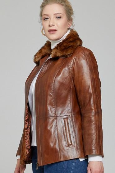 Kahverengi Samantha Kadın Deri Ceket 5638142294