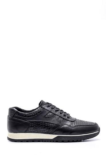 Siyah Erkek Kroko Detaylı Deri Sneaker 5638134669