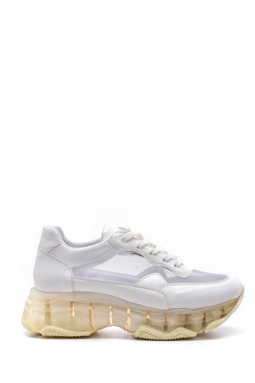 Beyaz Kadın Şeffaf Tabanlı Sneaker 5638142216