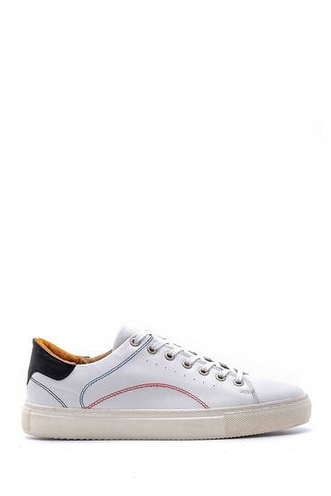 Beyaz Erkek Dikiş Detaylı Deri Sneaker 5638148394