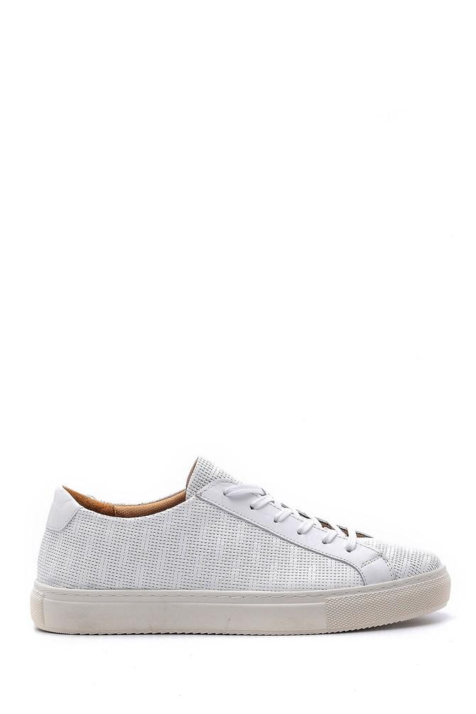 Beyaz Erkek Deri Sneaker 5638148437