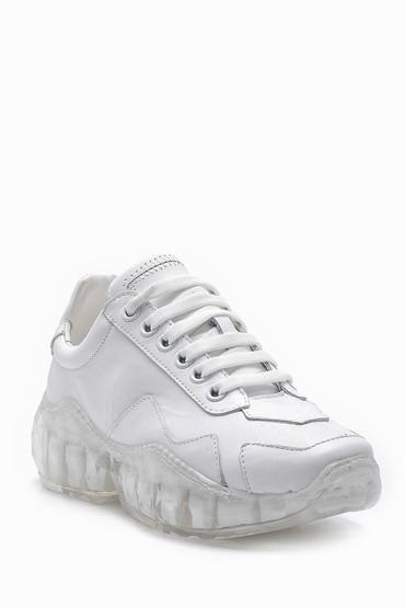 Beyaz Kadın Şeffaf Tabanlı Deri Sneaker 5638148277