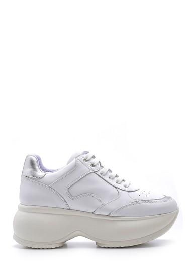 Beyaz Kadın Deri Sneaker 5638167655
