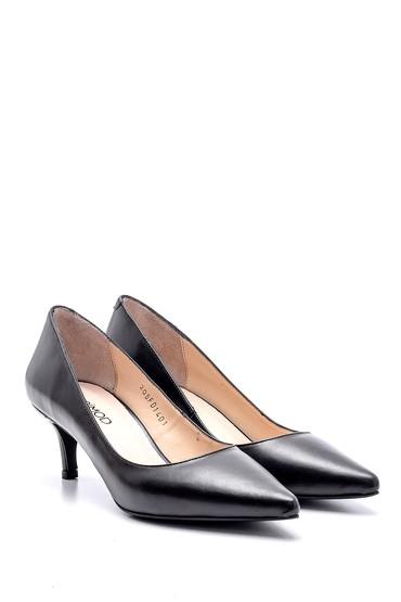 Siyah Kadın Deri Topuklu Ayakkabı 5638163130