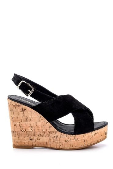 Siyah Kadın Süet Deri Dolgu Topuklu Sandalet 5638162503