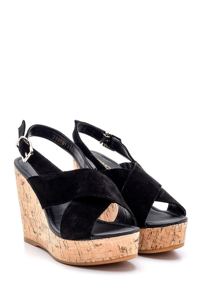 5638162503 Kadın Süet Deri Dolgu Topuklu Sandalet