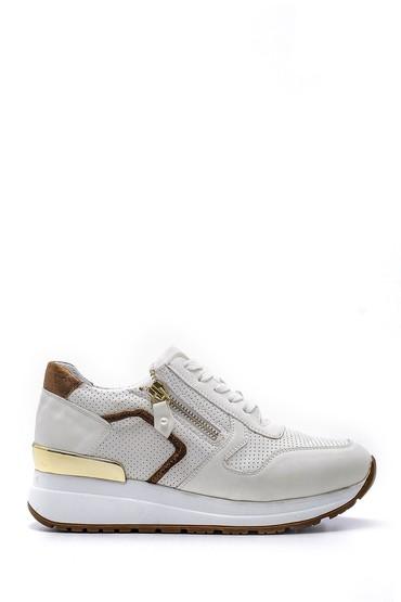 Beyaz Kadın Fermuar Detaylı Sneaker 5638159478