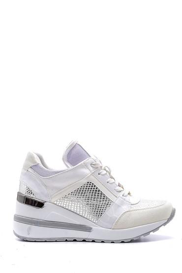 Beyaz Kadın Yılan Derisi Detaylı Sneaker 5638159596
