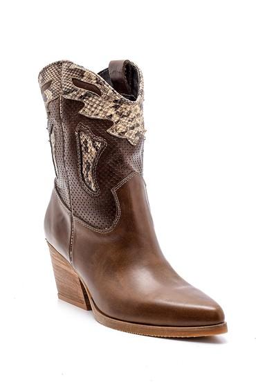 Kahverengi Kadın Deri Kovboy Bot 5638178567