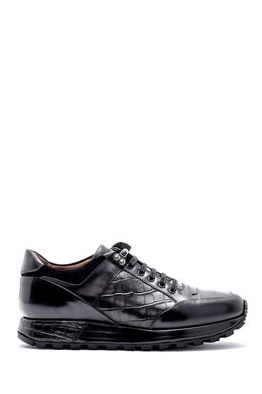 5638169339 Erkek Kroko Detaylı Deri Sneaker