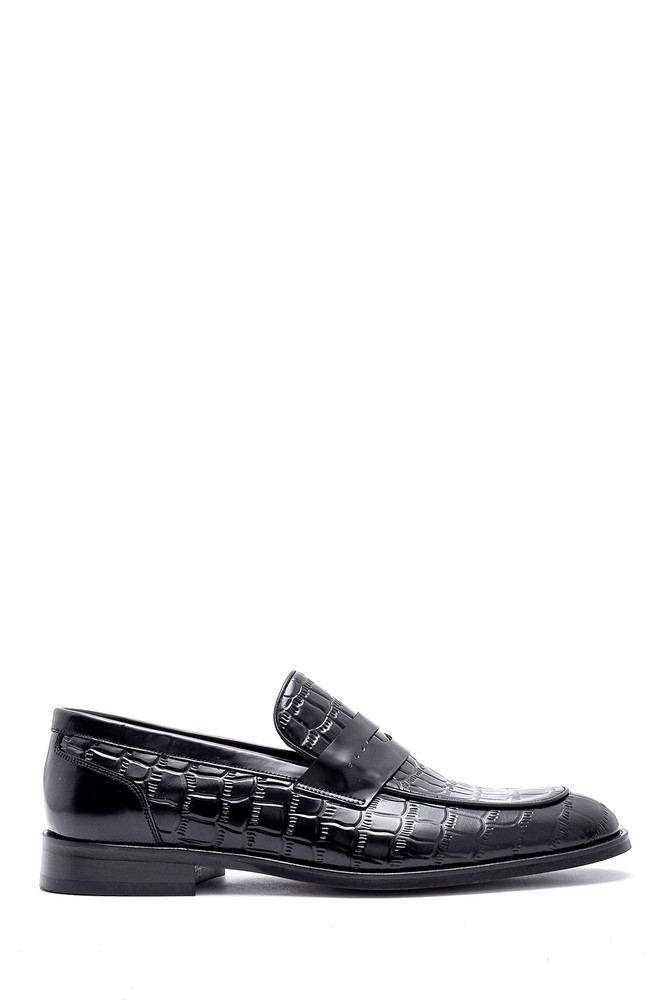 5638149718 Erkek Kroko Detaylı Deri Loafer