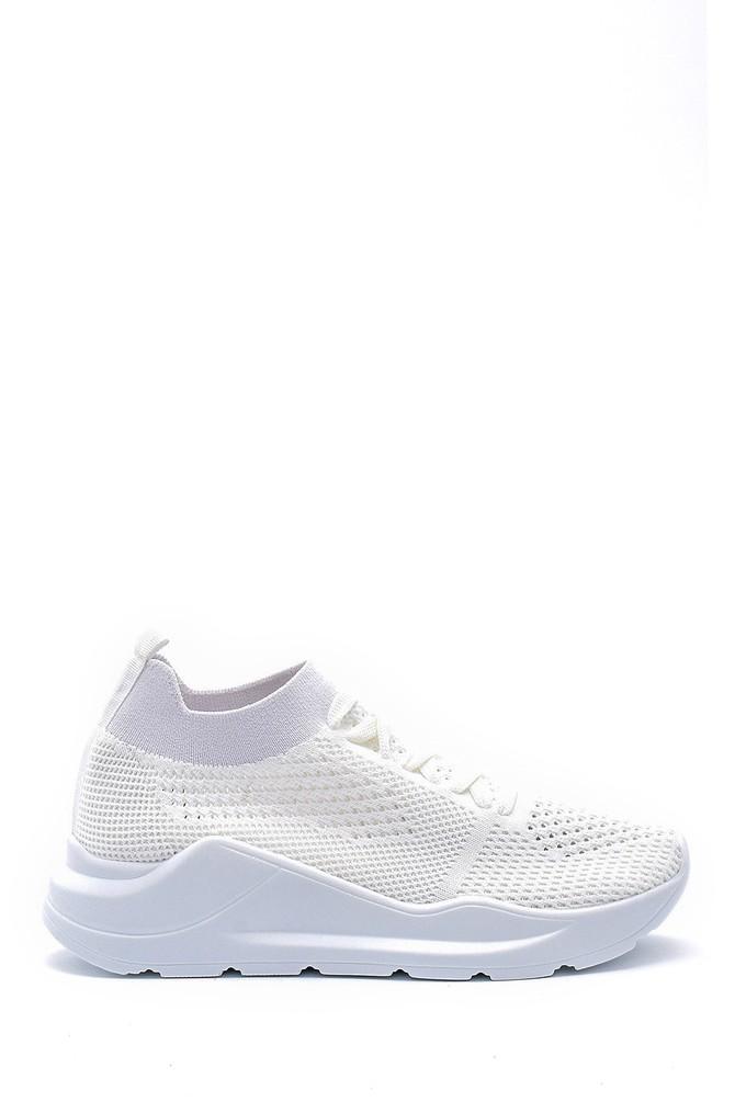 Beyaz Kadın Bağcıklı Çorap Sneaker 5638142119