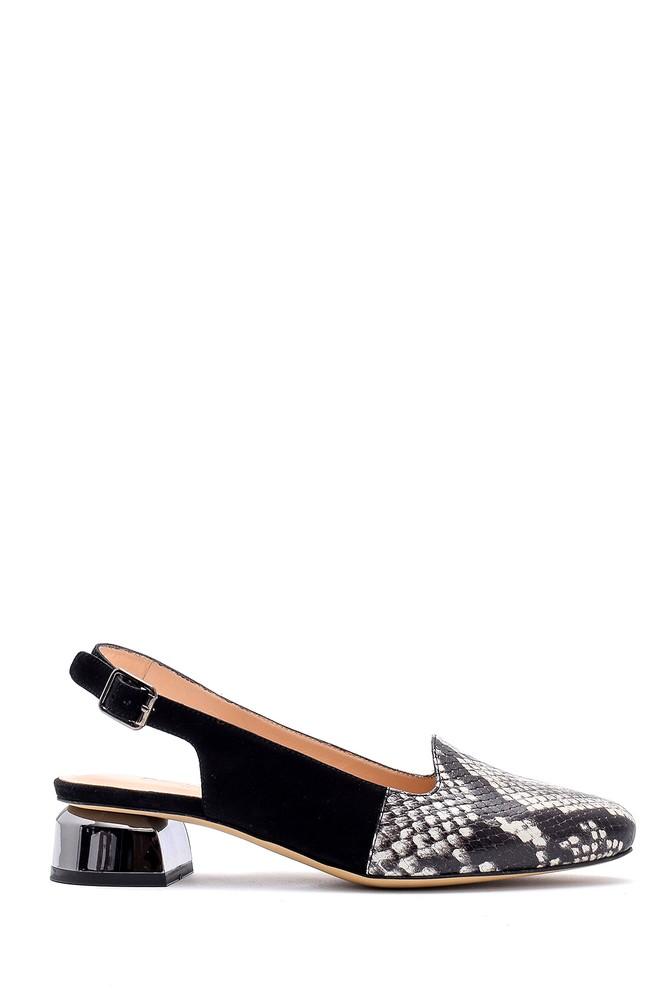 Siyah Kadın Yılan Derisi Detaylı Ayakkabı 5638161179
