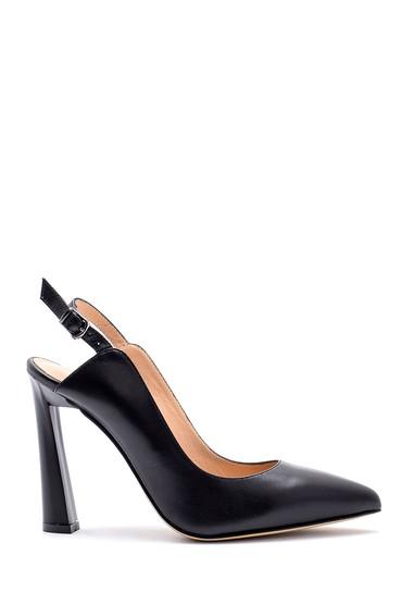 Siyah Kadın Deri Topuklu Ayakkabı 5638161287