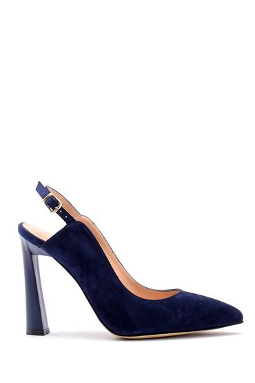 Lacivert Kadın Süet Deri Topuklu Ayakkabı 5638161297