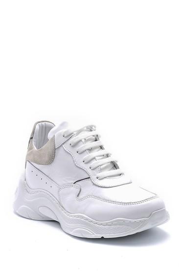 Beyaz Kadın Deri Yüksek Tabanlı Sneaker 5638167631