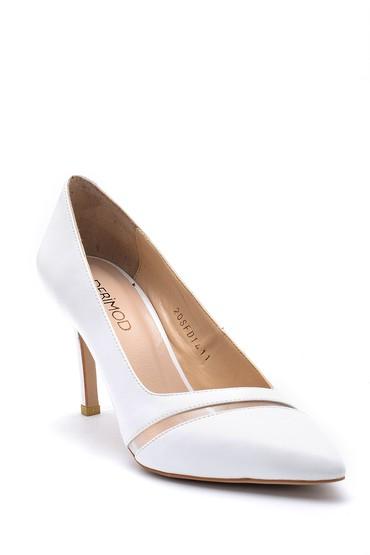 Beyaz Kadın Şeffaf Detaylı Deri Stiletto 5638163339
