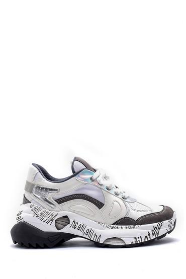 5638175117 Kadın Desenli Deri Sneaker