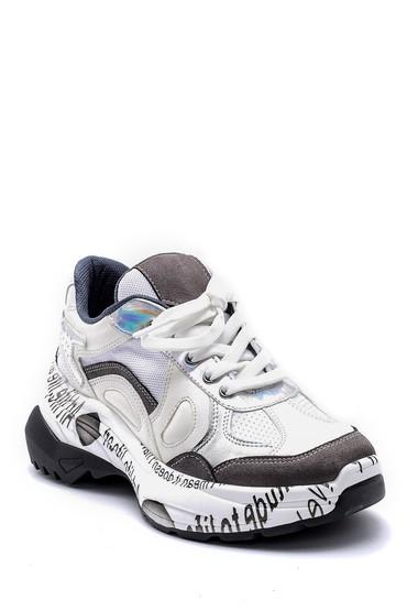 Beyaz Kadın Desenli Deri Sneaker 5638175117