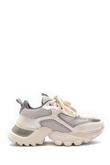 Bej Kadın Deri Yüksek Tabanlı Sneaker 5638175260