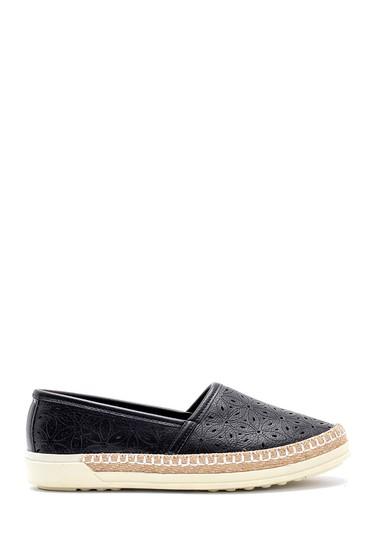 Siyah Kadın Hasır Detaylı Ayakkabı 5638121472