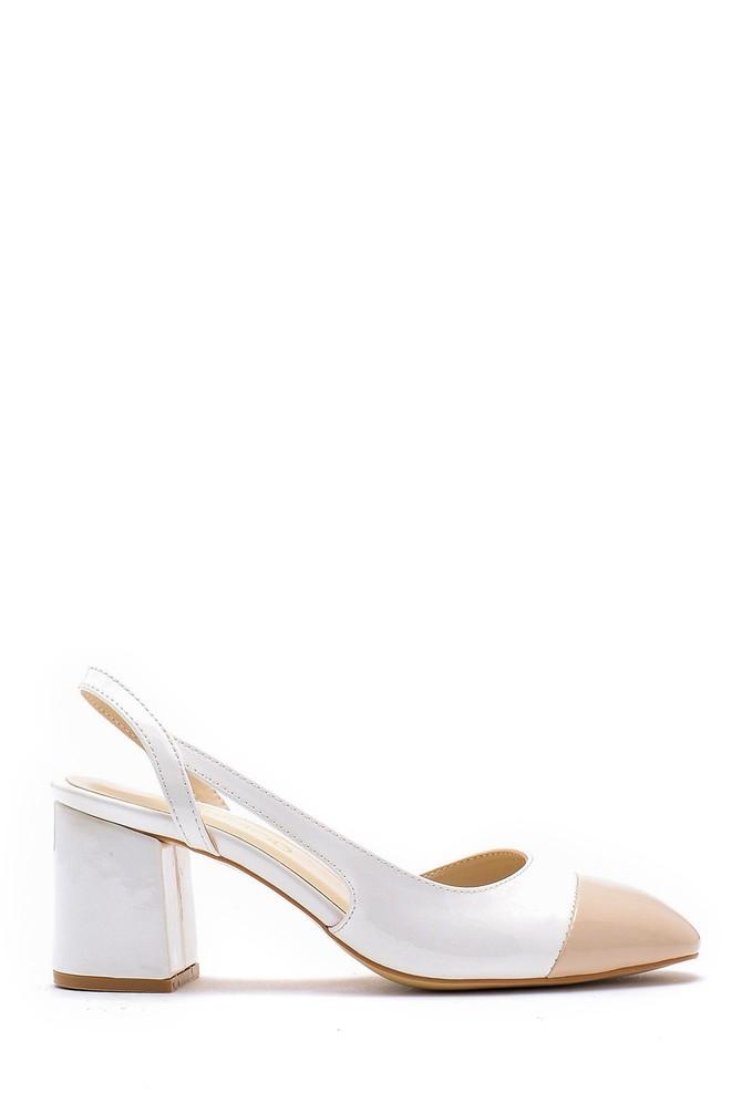 Beyaz Kadın Kalın Topuklu Ayakkabı 5638155018