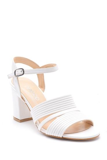 Beyaz Kadın Kalın Topuklu Ayakkabı 5638155571