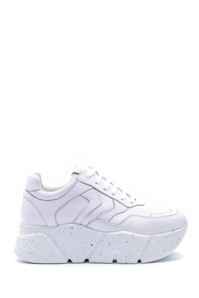 Beyaz Kadın Deri Sneaker 5638148296