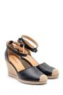 5638160648 Kadın Deri Hasır Detaylı Dolgu Topuklu Sandalet