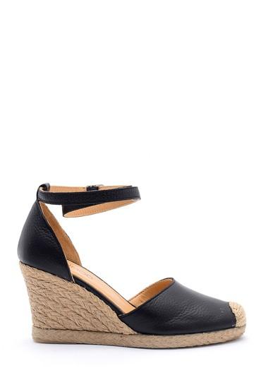 Siyah Kadın Deri Hasır Detaylı Dolgu Topuklu Sandalet 5638160648
