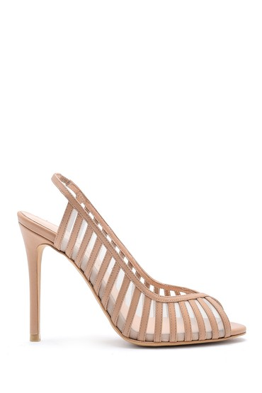 Bej Kadın Deri Topuklu Ayakkabı 5638161369