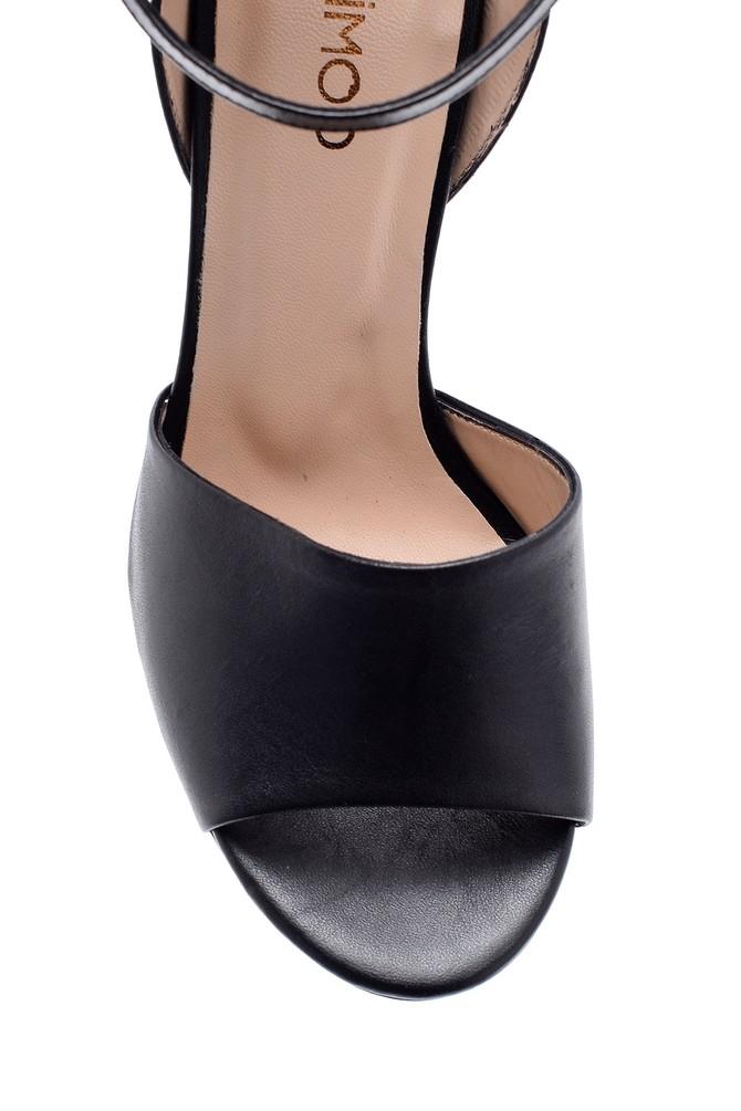 5638162468 Kadın Deri Kalın Topuklu Ayakkabı