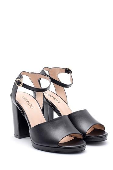 Siyah Kadın Deri Kalın Topuklu Ayakkabı 5638162456