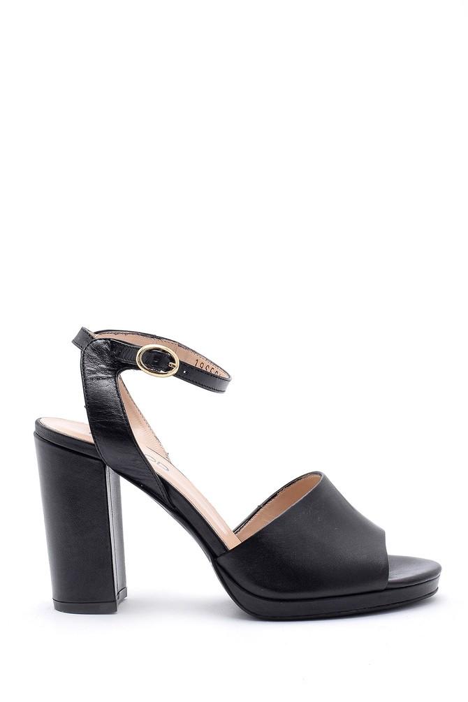 Siyah Kadın Deri Kalın Topuklu Ayakkabı 5638162468