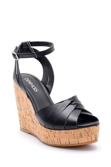 Siyah Kadın Deri Dolgu Topuklu Ayakkabı 5638162530