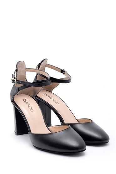 Siyah Kadın Deri Topuklu Ayakkabı 5638163312