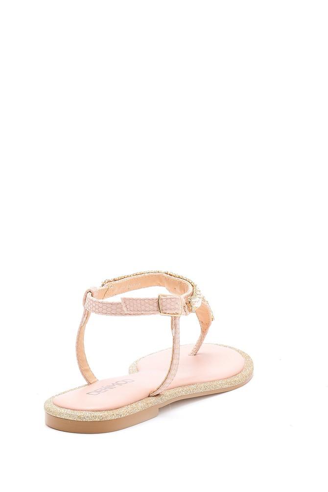 5638125491 Kadın İnci Detaylı Sandalet