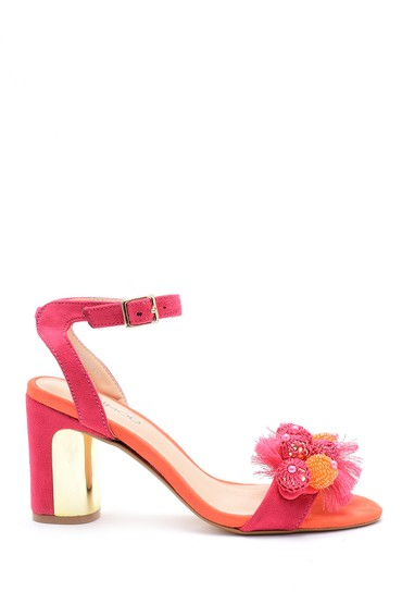 Pembe Kadın Deri Aksesuar Detaylı Topuklu Ayakkabı 5638125654